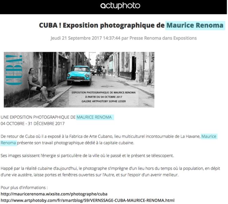 ActuPhoto-expo Cuba-Artphotoby-21092017