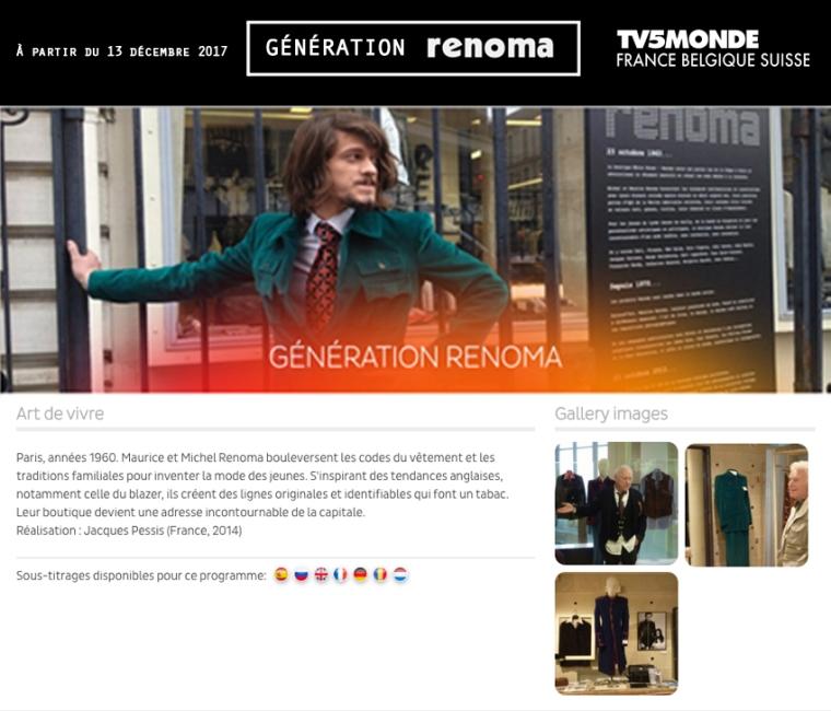 Paru Génération Renoma- TV5monde - décembre 2017